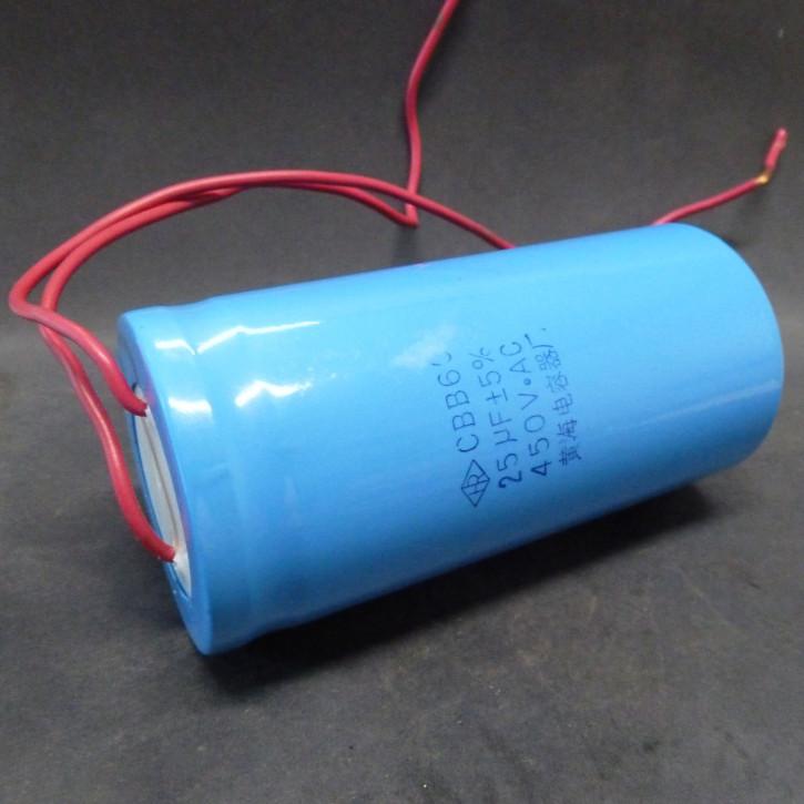 Kondensator  25mF/450V; Kabelanschlss; Ø50x102mm