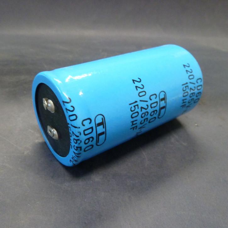Kondensator 150mF/265V; Lötfahnenanschlss; Ø42x81mm
