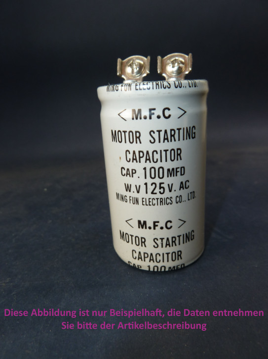 Kondensator 100mF/125V, 60x35mm, Schraubanschluß